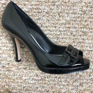 WHBM Black Peep Toe Patent Heels Size 6